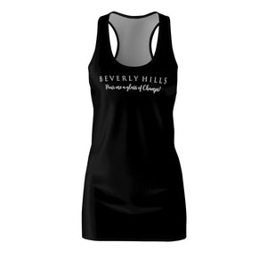 """Beverly Hills Pour me a glass of Champs"" - Black  Racerback Dress"