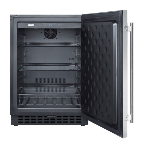 "24"" Outdoor Built-in Beverage Refrigerator Stainless Steel"