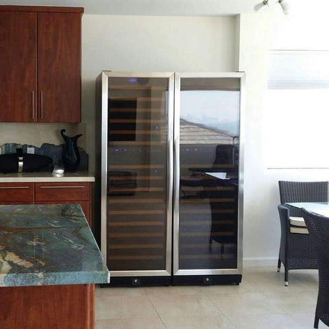 164-Bottle Dual Zone Stainless Steel Wine Refrigerator