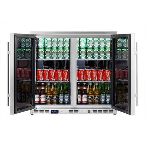 Heated Glass Double Door Under Counter Beverage Cooler Fridge