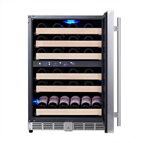 46-Bottle Dual Zone Stainless Steel Wine Refrigerator