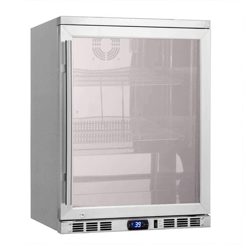 "24"" Undercounter Heating Glass Door Beverage Cooler Fridge"