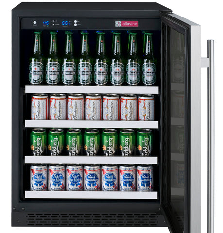 "FlexCount Series 24"" Wide Beverage Center Black Cabinet with Stainless Steel Door Left Hinge"