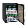 "Image of FlexCount Series 24"" Wide Beverage Center Black Cabinet with Stainless Steel Door Left Hinge"