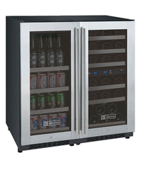 FlexCount Series 30 Bottle/88 Can Dual Zone Stainless Steel  Wine Refrigerator/Beverage Center