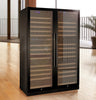 Image of FlexCount Series 349 Bottle Three Zone Black Side-by-Side Wine Refrigerator