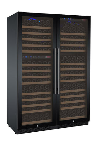 FlexCount Series 349 Bottle Three Zone Black Side-by-Side Wine Refrigerator
