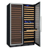 Image of FlexCount Classic 346 Bottle Three Zone Stainless Steel Side-by-Side Wine Refrigerator