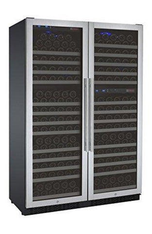 FlexCount Series 349 Bottle Three Zone Stainless Steel Side-by-Side Wine Refrigerator
