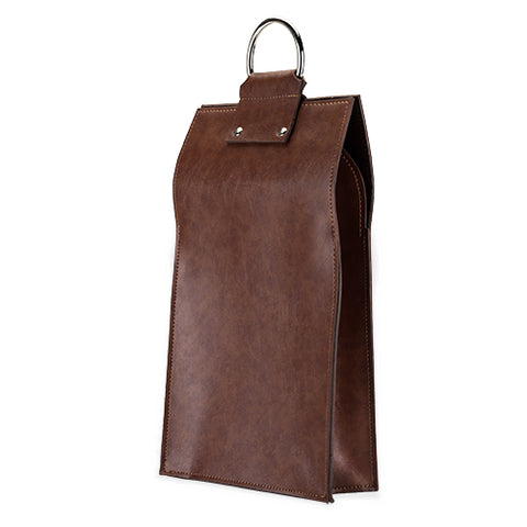 Admiral™ Faux Leather Double Bottle Brown Wine Tote