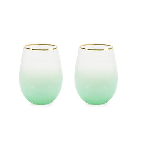 Stemless wine and cocktail Saguaro (green) Set of 2