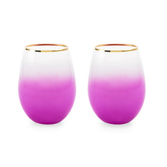 Stemless wine and cocktail Bougainvillea (purple) set of 2