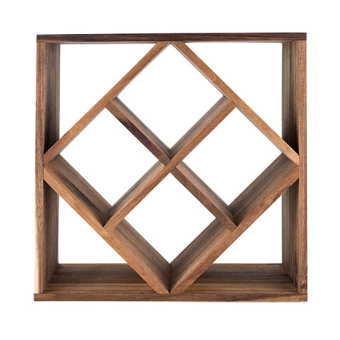 Rustic Farmhouse™ Acacia Wood Lattice Wine Rack