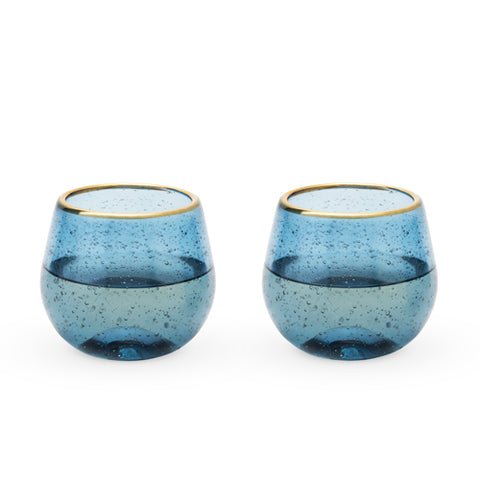 Seaside™ Deep Blue Bubble Stemless Wine Glass Set