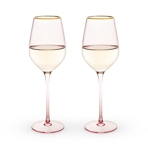 Garden Party Rose Crystal White Wine Glass Set