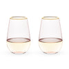 Image of Garden Party Rose Crystal Stemless Wine Glass Set