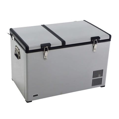 90 Quart Dual Zone Portable Fridge/ Freezer with 12v Option and Wheels