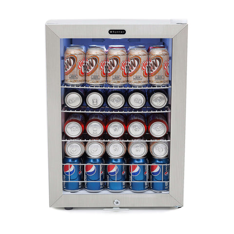 Beverage Refrigerator With Lock - Stainless Steel 90 Can Capacity