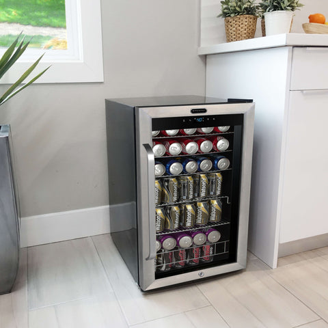 Freestanding 121 can Beverage Refrigerator with Digital Control and Internal Fan