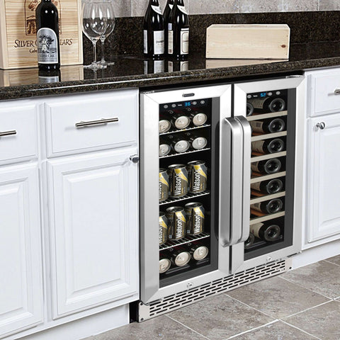 "24"" Built-In French Door Dual Zone 20 Bottle Wine 60 Can Beverage Cooler"