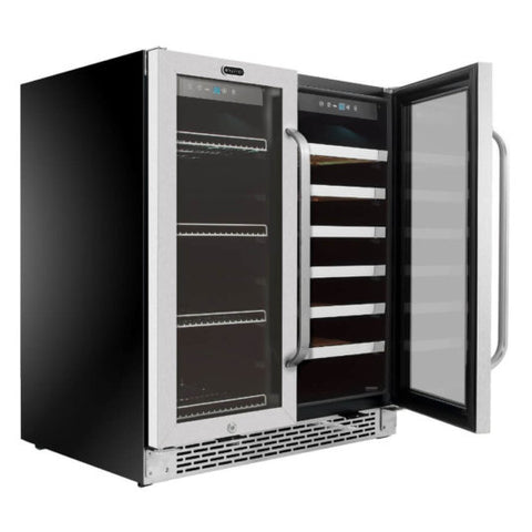 30″ Built-In French Door Dual Zone 33 Bottle Wine 88 Can Beverage Cooler