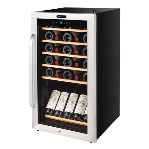 34 Bottle Freestanding Stainless Steel Refrigerator with Display Shelf and Digital Control