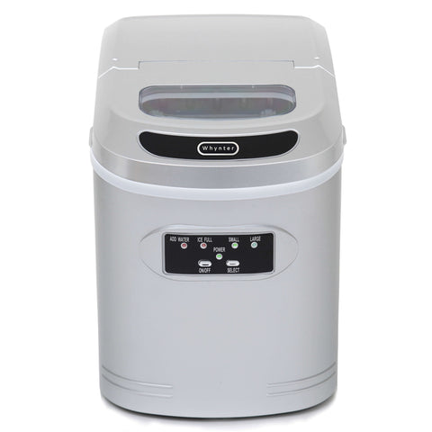 Compact Portable Ice Maker 27 lb capacity - Metallic Silver