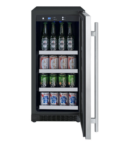 FlexCount Series Beverage Center Black Cabinet with Stainless Steel Door  Left Hinge