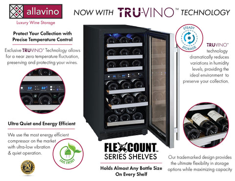 30 Bottle FlexCount II Tru-Vino Dual Zone Stainless Steel Right Hinge