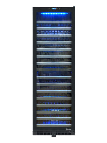 142-Bottle Dual-Zone Wine Cooler with Seamless Glass Door and Stainless Trim