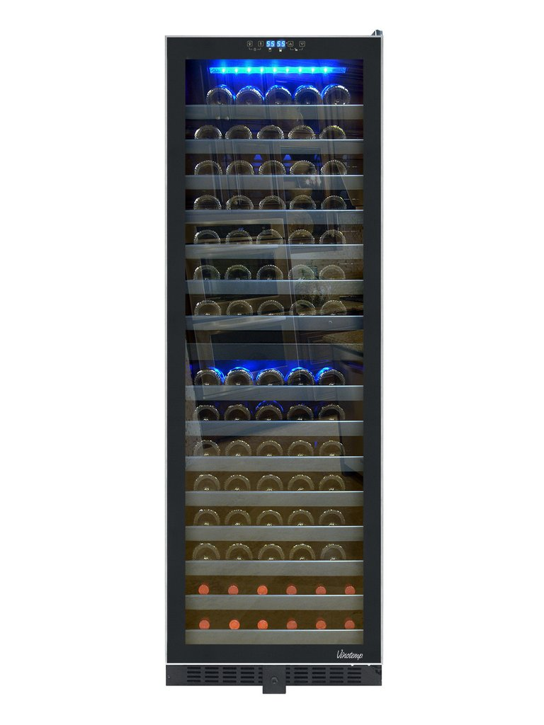 142 Bottle Dual Zone Wine Cooler With Seamless Glass Door And