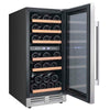 "Image of 28-Bottle Dual Zone Wine Cooler - 15"" - Black/Stainless Steel"