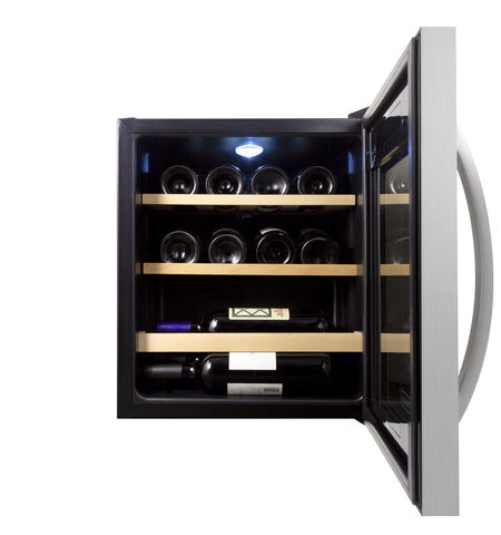 Cascina Series 12 Bottle Single Zone Stainless Steel Wine Refrigerator