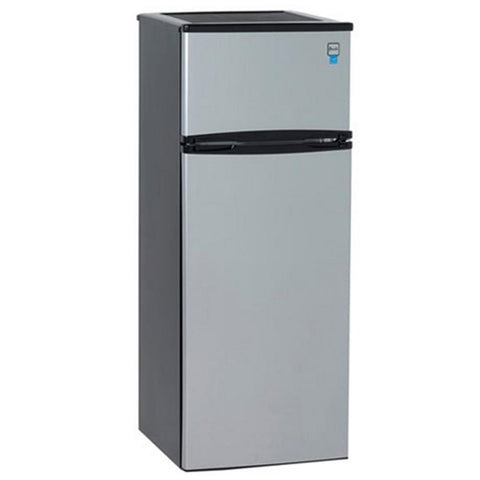 2-Door Apartment Size Refrigerator, Black with Platinum Finish