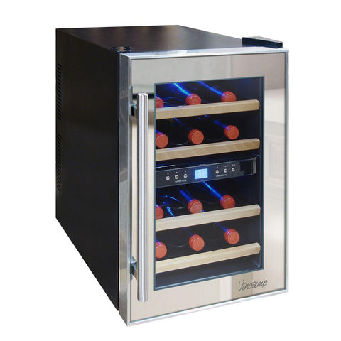 12-Bottle Dual-Zone Thermoelectric Mirrored Wine Cooler