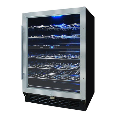 58 Bottle Wine Cooler Stainless Door Black Body Reversible Hinge