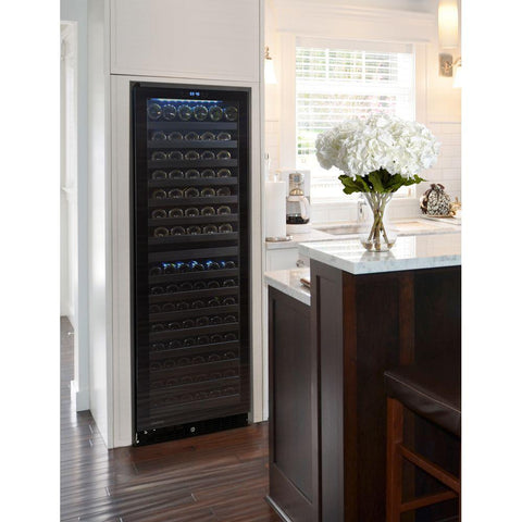142-Bottle Dual-Zone Wine Cooler with Seamless Glass Door Glide Racks