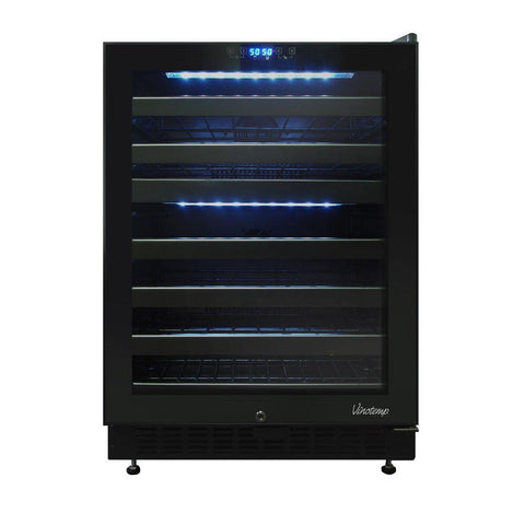 46-Bottle Dual-Zone Wine Cooler with Seamless Glass Door