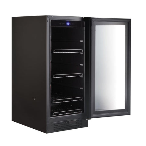 Built-in Black Glass 80-can capacity 3.4 cu ft. Beverage Refrigerator