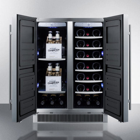 21-Bottle Dual Zone Solid Double Door Outdoor Wine and Beverage Center In Stainless Steel