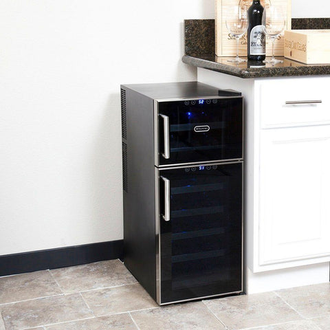 21 Bottle Dual Temperature Zone Touch Control Freestanding Wine Cooler