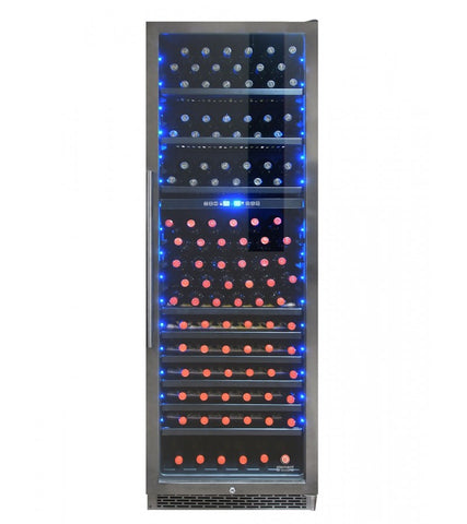 168-Bottle Smoked Black Stainless Steel Dual-Zone Wine Cooler