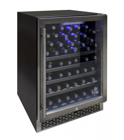 54-Bottle Smoked Black Stainless Steel Wine Cooler