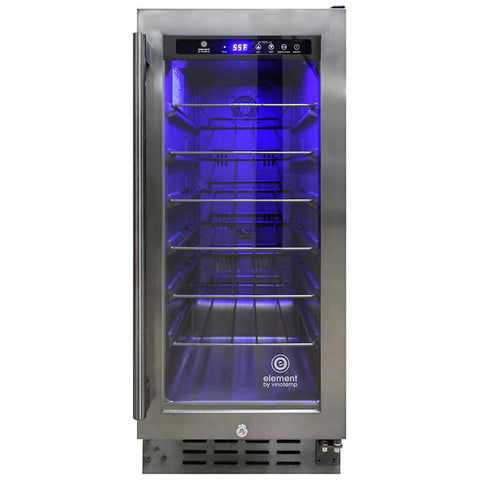 33-Bottle Smoked Black Stainless Steel Wine Cooler