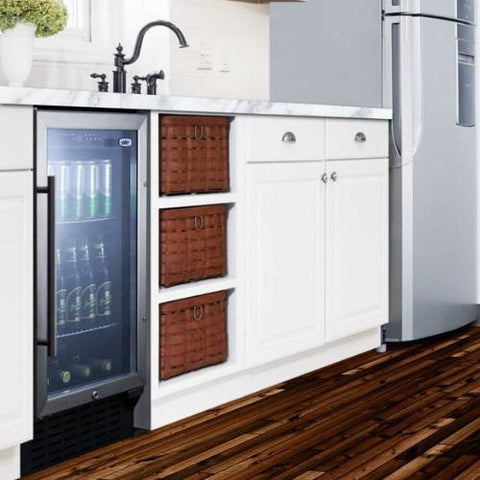 "18"" Wide Built-in Glass Door Beverage Center"