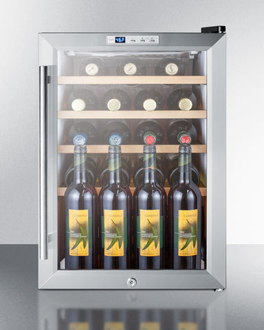 22-Bottle Single Zone Glass Door Stainless Steel Wine Refrigerator