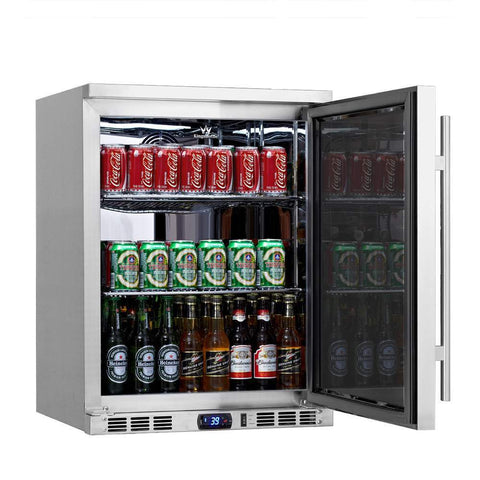 "24"" Outdoor Beverage Cooler Fridge, Solid Door Beverage Cooler"
