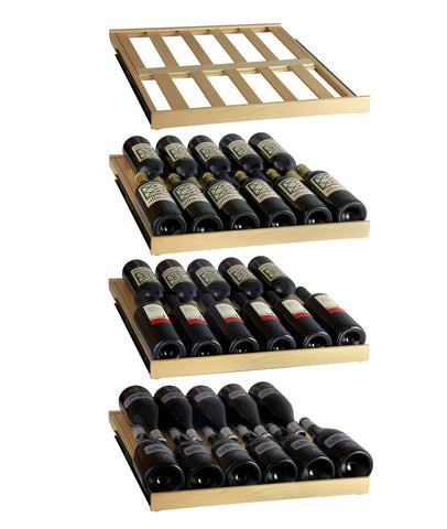 FlexCount Classic 346 Bottle Three Zone Stainless Steel Side-by-Side Wine Refrigerator