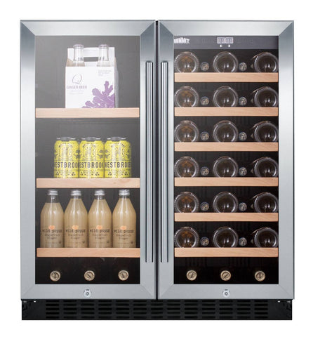 "33-Bottle 30"" Wide Dual Zone Built-in Combo Wine and Beverage Center"