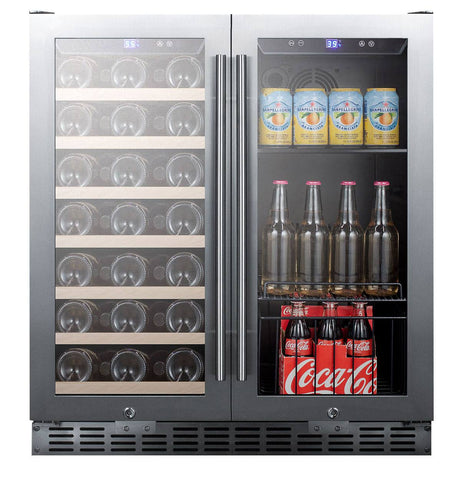 "35-Bottle 30"" Wide Dual Zone Built-in Combo Wine and Beverage Center"